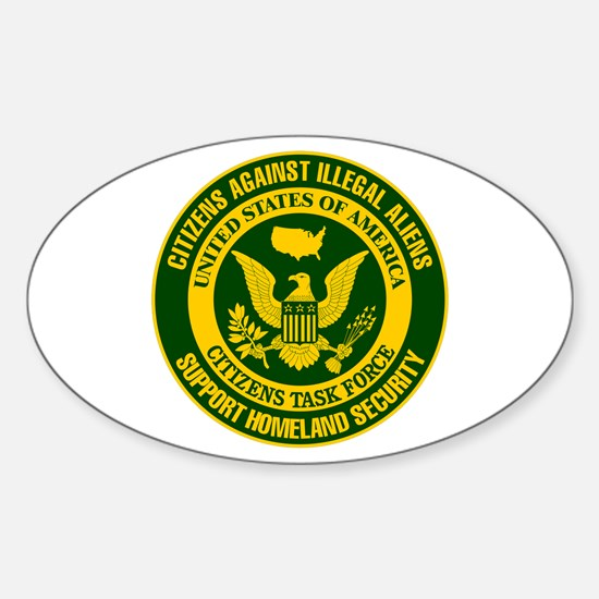 Citizens Against Illegal Aliens Oval Decal