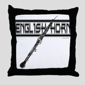 English Horn Throw Pillow
