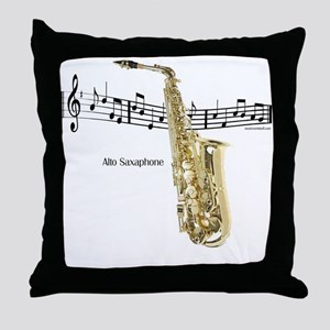 Alto Sax Music Throw Pillow