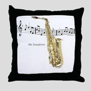 Alto Sax Music Throw Pillow