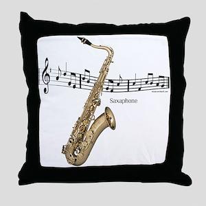 Saxaphone Music Throw Pillow