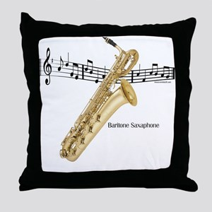 Bari Saxaphone Music Throw Pillow