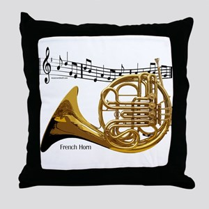 French Horn Music Throw Pillow