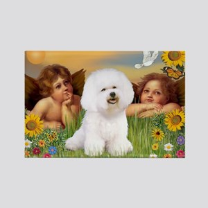 Angels & Bichon Frise Rectangle Magnet