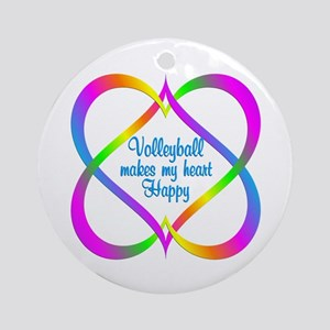 Volleyball Linking Hearts Round Ornament