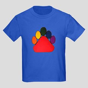 COLORFUL RAINBOW BEAR PAW Kids Dark T-Shirt