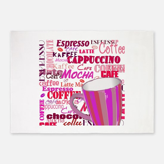 Pink Coffee Words 5'x7'Area Rug