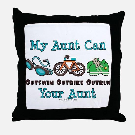 Aunt Triathlete Triathlon Throw Pillow