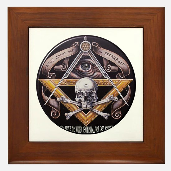 Unique Square and compasses Framed Tile