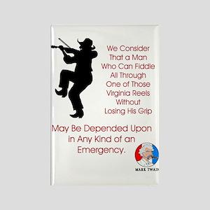 Mark Twain Fiddle Emergency Rectangle Magnet