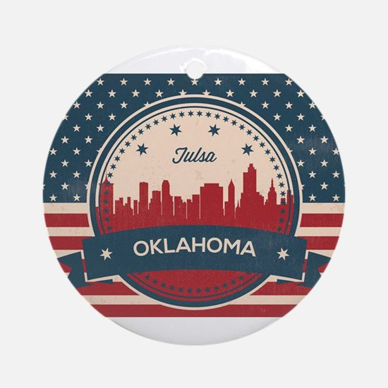 Tulsa Oklahoma Retro Skyline Round Ornament