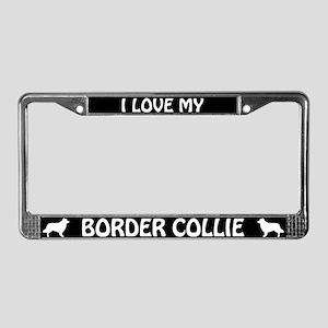 I Love My Border Collie License Plate Frame