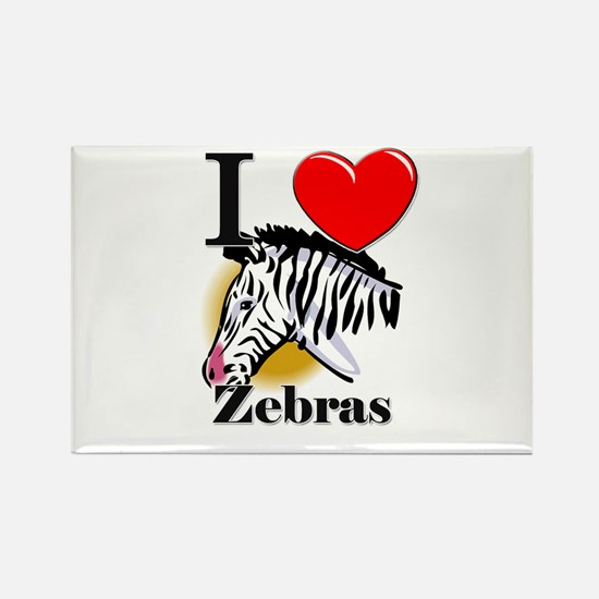 I Love Zebras Rectangle Magnet