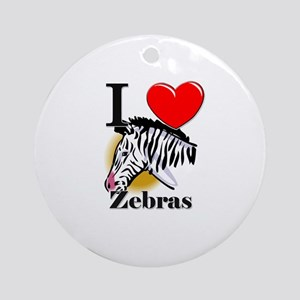 I Love Zebras Ornament (Round)