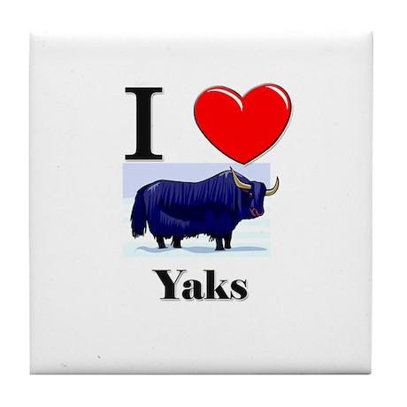 I Love Yaks Tile Coaster