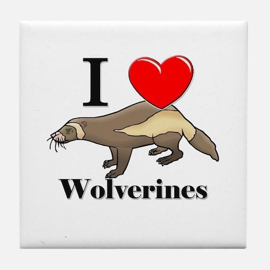 I Love Wolverines Tile Coaster
