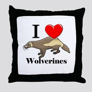 I Love Wolverines Throw Pillow