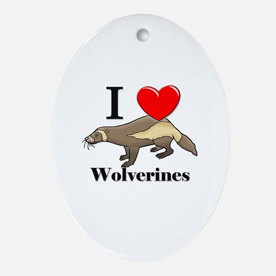 I Love Wolverines Oval Ornament