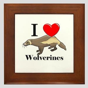 I Love Wolverines Framed Tile