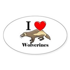 I Love Wolverines Oval Sticker
