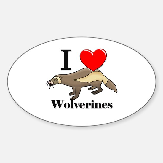 I Love Wolverines Oval Decal