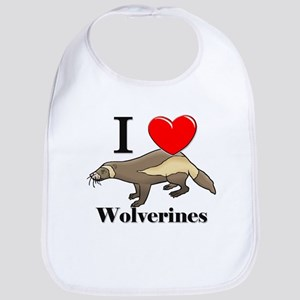I Love Wolverines Bib