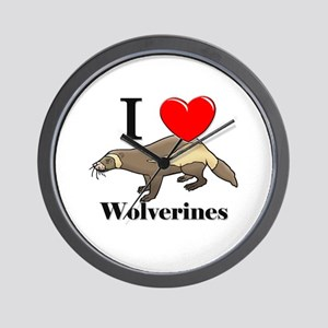 I Love Wolverines Wall Clock