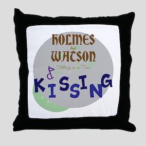 Holmes and Watson Kissing Throw Pillow