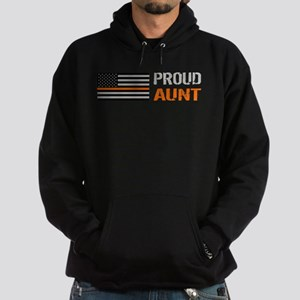 U.S. Flag Orange Line: Proud Aunt Hoodie (dark)