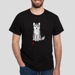 Grey Siberian Husky Dark T-Shirt