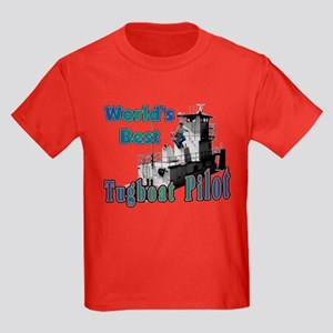 World's Best Tugboat Pilot t Kids Dark T-Shirt