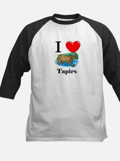 I Love Tapirs Kids Baseball Jersey