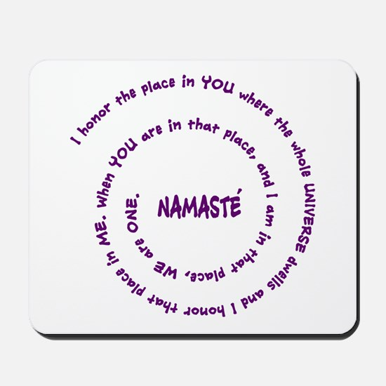 Namaste and its Meaning in Sacred Purple Mousepad