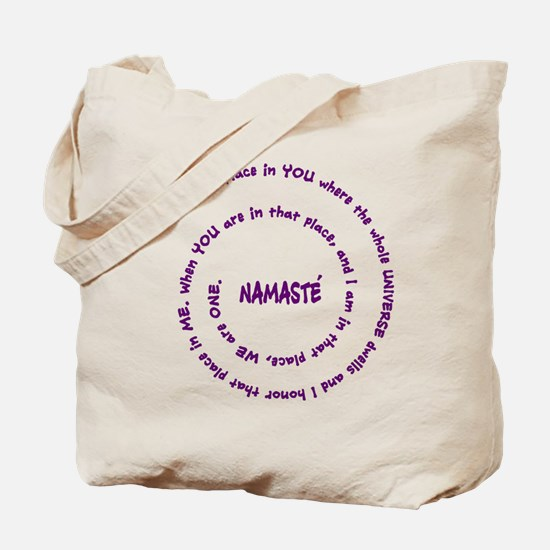 Namaste and its Meaning in Sacred Purple Tote Bag