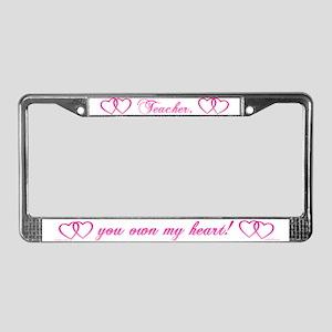 A Teacher Owns My Heart License Plate Frame