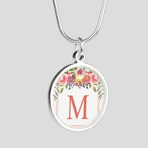 Peach Floral Wreath Monogram Necklaces
