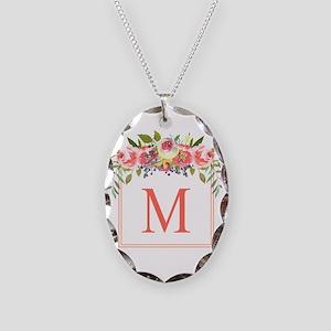 Peach Floral Wreath Monogram Necklace