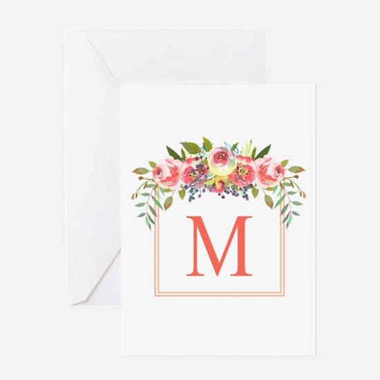 Peach Floral Wreath Monogram Greeting Cards