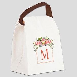 Peach Floral Wreath Monogram Canvas Lunch Bag