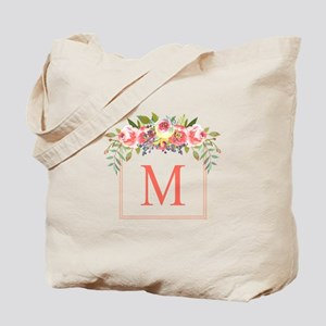 Peach Floral Wreath Monogram Tote Bag