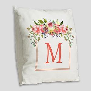 Peach Floral Wreath Monogram Burlap Throw Pillow