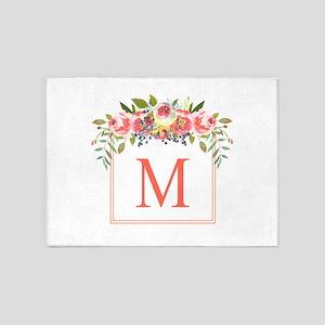Peach Floral Wreath Monogram 5'x7'Area Rug