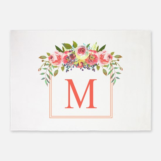 Peach Floral Wreath Monogram 5'x7'Area Rug