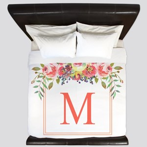 Peach Floral Wreath Monogram King Duvet