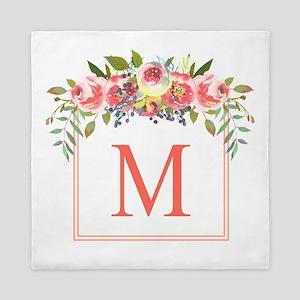 Peach Floral Wreath Monogram Queen Duvet