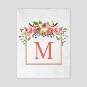Peach Floral Wreath Monogram Twin Duvet Cover