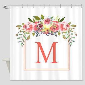 Peach Floral Wreath Monogram Shower Curtain