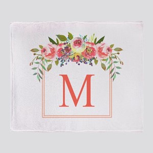 Peach Floral Wreath Monogram Throw Blanket
