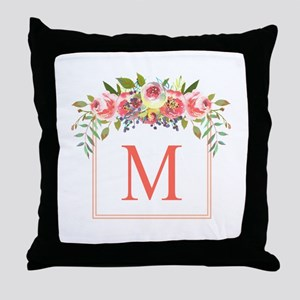 Peach Floral Wreath Monogram Throw Pillow
