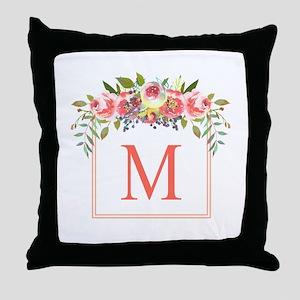 Peach Floral Wreath Monogram Throw Pillow